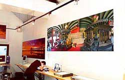 Large panoramic print on wall